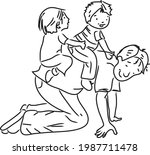 father's day.children playing... | Shutterstock .eps vector #1987711478