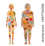 set of fat and skinny girl with ... | Shutterstock .eps vector #1987734308