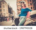 young cheerful girl near... | Shutterstock . vector #198790328