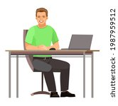 guy is sitting at table. young... | Shutterstock .eps vector #1987959512