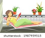 beautiful girl in a deck chair. ... | Shutterstock .eps vector #1987959515