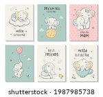cute cards with little elephant ...   Shutterstock .eps vector #1987985738