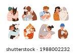 set of kids hugging big and...   Shutterstock .eps vector #1988002232