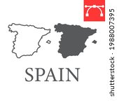 map of spain line and glyph...   Shutterstock .eps vector #1988007395