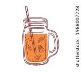 summer orange cocktail in glass ... | Shutterstock .eps vector #1988007728