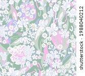romantic liberty print on green ...   Shutterstock .eps vector #1988040212