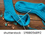 Knitting A Warm Sock From Blue...