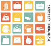 Vector Set of Color Square Bags Icons