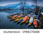 Beautiful view of the colorful Shikara boats floating on Dal Lake, Srinagar, Kashmir, India.