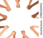 diverse hands are holding each... | Shutterstock .eps vector #1988183942