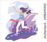 girl with long hair runs and...   Shutterstock .eps vector #1988194352