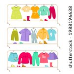 clothes racks. wardrobe stands... | Shutterstock .eps vector #1988196638
