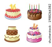 chocolate cakes set  sweet pink ... | Shutterstock .eps vector #1988266382