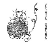 Cat Play With Ball Of Yarn....
