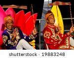 AUCKLAND - OCT 16, 2006. Two unidentified performers participate in the annual Diwali Festival at Auckland's Britomart Centre on Oct 16, 2006 in Auckland, NZ. Hindus celebrate the event globally. - stock photo