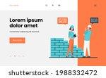 two positive builders talking... | Shutterstock .eps vector #1988332472