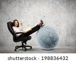 young businesswoman sitting in... | Shutterstock . vector #198836432