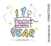 1 year anniversary handwritten...   Shutterstock .eps vector #1988370185