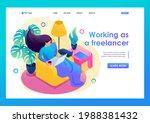 isometric 3d. girl working from ... | Shutterstock .eps vector #1988381432