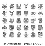 set of rockroll thin line and... | Shutterstock .eps vector #1988417732