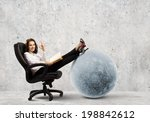 young businesswoman sitting in... | Shutterstock . vector #198842612