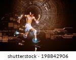 young running man against... | Shutterstock . vector #198842906