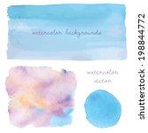 blue ombre watercolor... | Shutterstock .eps vector #198844772