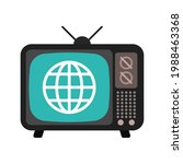 retro tv with globe icon...   Shutterstock .eps vector #1988463368