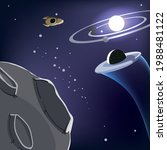 spacecrafts drifting though the ...   Shutterstock .eps vector #1988481122