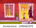 boy greeting mother at house... | Shutterstock .eps vector #1988482595
