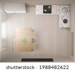 kitchen interior with stove ... | Shutterstock .eps vector #1988482622