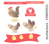 vector cartoon chicken cute... | Shutterstock .eps vector #198850922