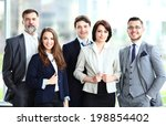 happy smiling business team in...   Shutterstock . vector #198854402