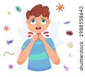 viruses around. man having sore ... | Shutterstock .eps vector #1988558642