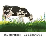 a cow is grazing in a pasture.... | Shutterstock .eps vector #1988564078