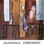 watercolor drawing sketch of...   Shutterstock . vector #1988568002