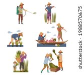 asian farmers in straw conical... | Shutterstock .eps vector #1988570675
