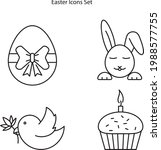 easter icons set isolated on...