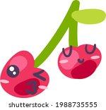 cherry twins fruit emoji happy...   Shutterstock .eps vector #1988735555
