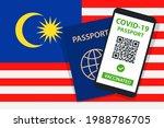 covid 19 passport on malaysia... | Shutterstock .eps vector #1988786705