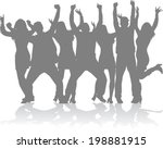 dancing silhouettes | Shutterstock .eps vector #198881915