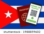 covid 19 passport on cuba flag... | Shutterstock .eps vector #1988859602