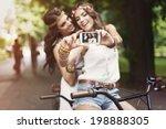 hippie girls taking selfie at... | Shutterstock . vector #198888305
