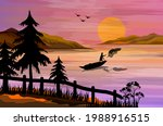a man fishing with a net at a... | Shutterstock .eps vector #1988916515