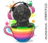 cute cartoon pug dog with... | Shutterstock .eps vector #1988919122