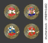 four golden bitcoin icons with... | Shutterstock .eps vector #1988941682