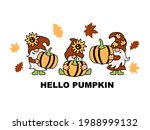 three gnomes with pumpkin ... | Shutterstock .eps vector #1988999132