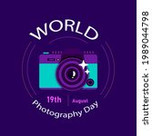 world photography day. happy...   Shutterstock .eps vector #1989044798