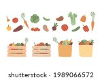 Set Of Isolated Vegetables And...