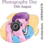 world photography day. happy...   Shutterstock .eps vector #1989069278